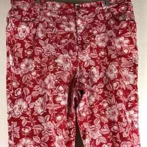 Jones NY Red And White Floral Print Pants Size 18W